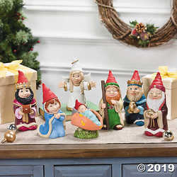 7 Piece Gnome Nativity Christmas Scene