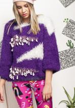 Fluffy knit jumper - 80s vintage ugly sweater - $40.30
