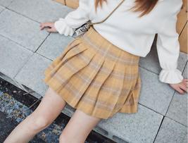 Winter Plaid Pleated Skirt Women Girls Plus Size Wool Pleated Plaid Skirt Yellow image 3