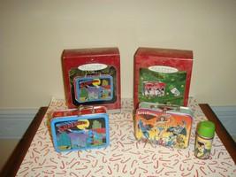 Hallmark 1998 Superman & 2000 Super Friends Pressed Tin Lunch Box Ornaments - $16.99