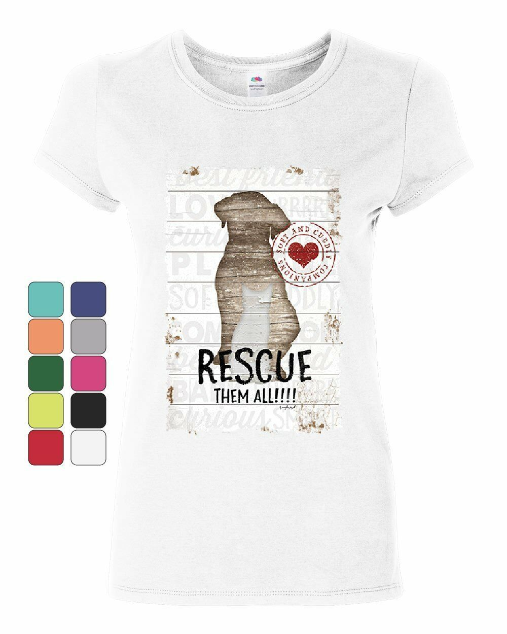 Primary image for Rescue Them All Women's T-Shirt Pet Dog Cat Shelter Animal Rescue Paw Shirt