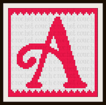 Letter A Baby or Toddler Pink and White Blanket C2C Crochet Graph Writte... - $5.50