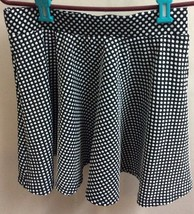 Women Short Skirt, Black With White Dots. 100% Polyester, Size M. - $6.99