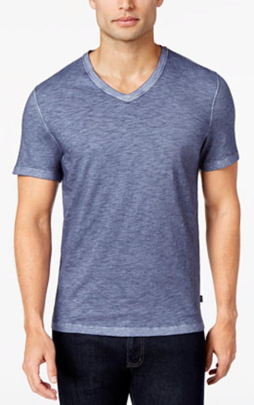 Micheal Kors Men's V-Neck Melange Cotton T-Shirt, Midnight, Size XXL, MSRP $69