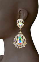 "3.5"" Long Victorian Vintage Inspired AB Crystal Evening Clip On Earrings... - $20.90"