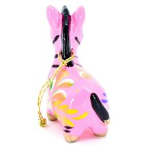 Handcrafted Painted Ceramic Pink Zebra Confetti Ornament Made in Peru image 4