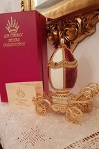 Red Russian FABERGE egg style Imperial jeweled 24k Gold Carriage REal Eg... - $999.00