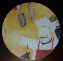 """FAT CHEF Glass Cutting board Kitchen Hot Plate Trivet Cheese 8"""" Round NEW - $10.99"""