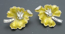 Crown TRIFARI Yellow Leaf Clear Rhinestone Bug Gold Tone Clip Earrings V... - $98.99
