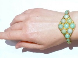 Authentic RARE Victorian 15k Chinese UN treated Jadeite Chased Cuff Bangle - $8,854.00