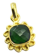 bonnie Emerald CZ Gold Plated Green Pendant Glass handmade US - $13.16