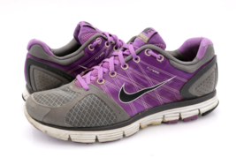 Nike Womens 9 Gray Purple Lunar Glide 2 Flywire Running Sneakers Shoes E... - $24.99