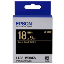 18mm Gold on Black - Epson LABELWORKS LK-5BKP Tape Cartridges (Pack of 4) - $82.99