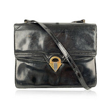 Authentic Gucci Vintage Black Leather Double Flap Shoulder Bag with DEFECTS - $8.91