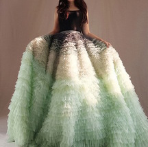 Women Tiered Maxi Tulle Skirt Wedding Bridal Train Skirt Outfit Evening Skirts image 4