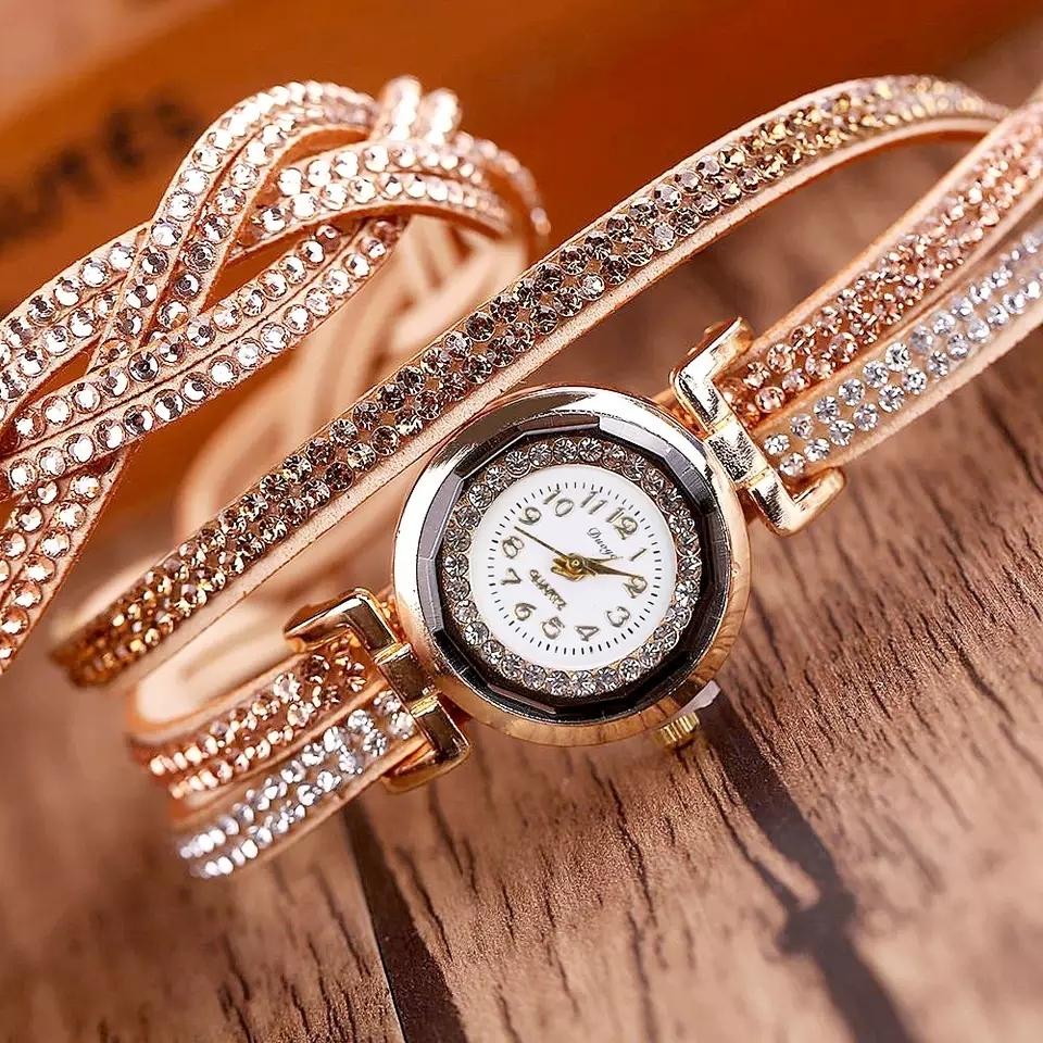 Fashion Casual Gold Quartz Women Rhinestone Watch Braided Leather Bracelet Watch