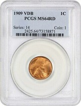 1909 VDB 1c PCGS MS64 RD - Lincoln Cent - $97.00