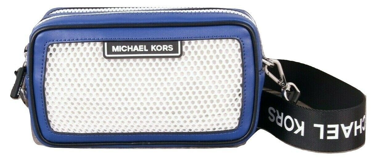 Michael Kors Sport Danika Blue Black Net Small Camera Top Zip Bag $248