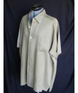 NEIMAN MARCUS Short Sleeve Dress Shirt XL Linen Green 55 Chest VERY NICE - $40.53