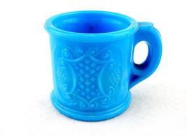 Vintage Toothpick Holder, Grape and Sheild Design, LT Blue Milk Glass TP... - $19.55