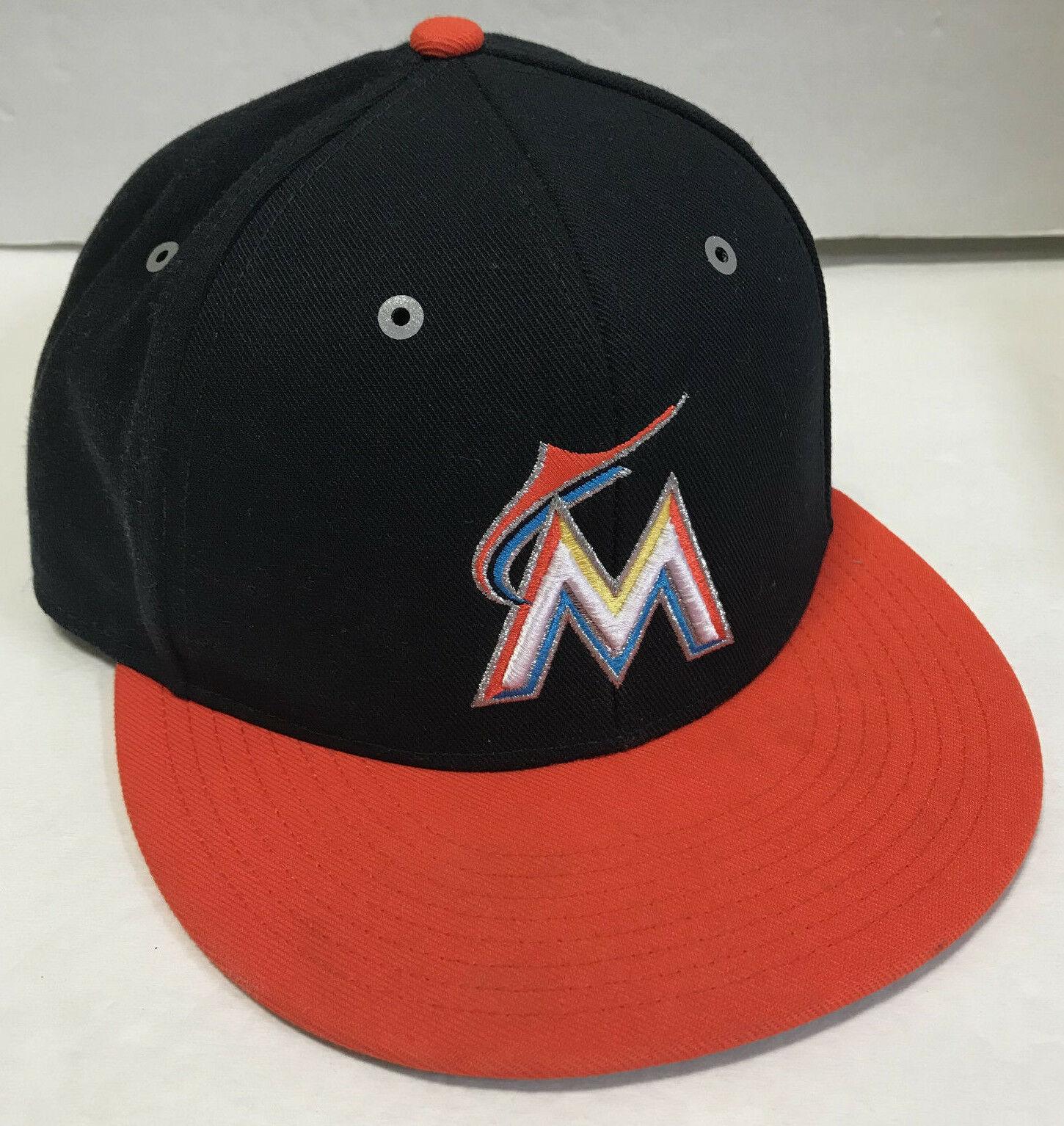 Nike Florida Marlins Adjustable Hat Baseball Cap Black Orange Flat Brim