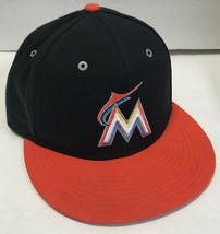Nike Florida Marlins Adjustable Hat Baseball Cap Black Orange Flat Brim - $8.80