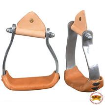 Horse Western Saddle Stirrup Aluminum Stirrups With Leather U-T121 - $32.95