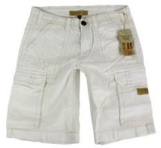 True Religion Men's Isaac Classic Cargo Sport Shorts 6 Pocket Off White