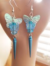 MAMMA BABY blue butterfly earrings dangle drop earrings bead sequins han... - $2.50