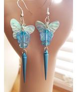 MAMMA BABY blue butterfly earrings dangle drop earrings bead sequins han... - $5.50