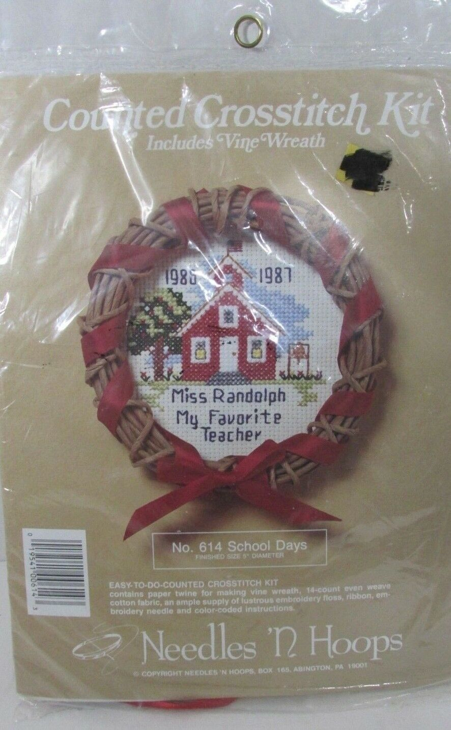Primary image for Needles n Hoops School Days mini wreath Sampler Counted Cross Stitch Kit 614 NEW