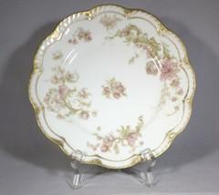 Haviland Limoges Plate Salad Porcelain Pink Green Floral Scallop Edge Go... - $15.00
