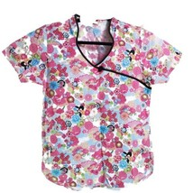 Dickies Floral Pink Blue Flowers Butterflies XS Scrub Top No Size Tag - $14.84