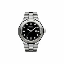 NEW Mens Bulova Diamond Accent Watch Black Dial Stainless Steel Water Re... - $219.95