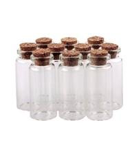 50pcs 10ml Small Glass Bottles Clear Vial Cork Sample Jars Storage Penda... - $23.64