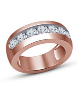 Round Cut Lab Diamond 18k Rose Gold Plated 925 Silver Engagement Men's B... - $64.99