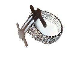 Silver Rhinestone Stretch Band Corsage Wristlet Formal Prom Favors - $3.71