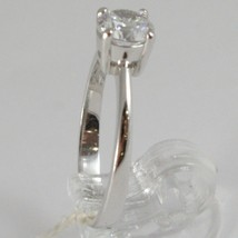 White gold ring 750 18k, solitaire cubic zirconia ct 0.77, made in Italy image 2