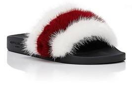 Givenchy Striped Mink Fur Pool Slide Sandal, White/Red 41 - $414.81