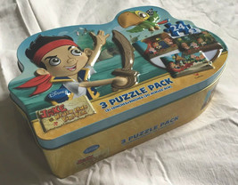 Jake And The Neverland Pirates Disney 3 Puzzle Pack In Durable Metal case - $6.95