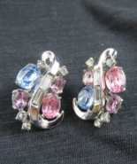 Vintage Crown Trifari Pat Pend Spring Melody Clip Earrings Pink Blue Lav... - $145.00