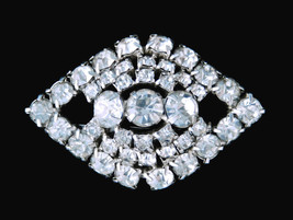 Vintage clear ice rhinestone tiered eye brooch pin jewelry - $22.72
