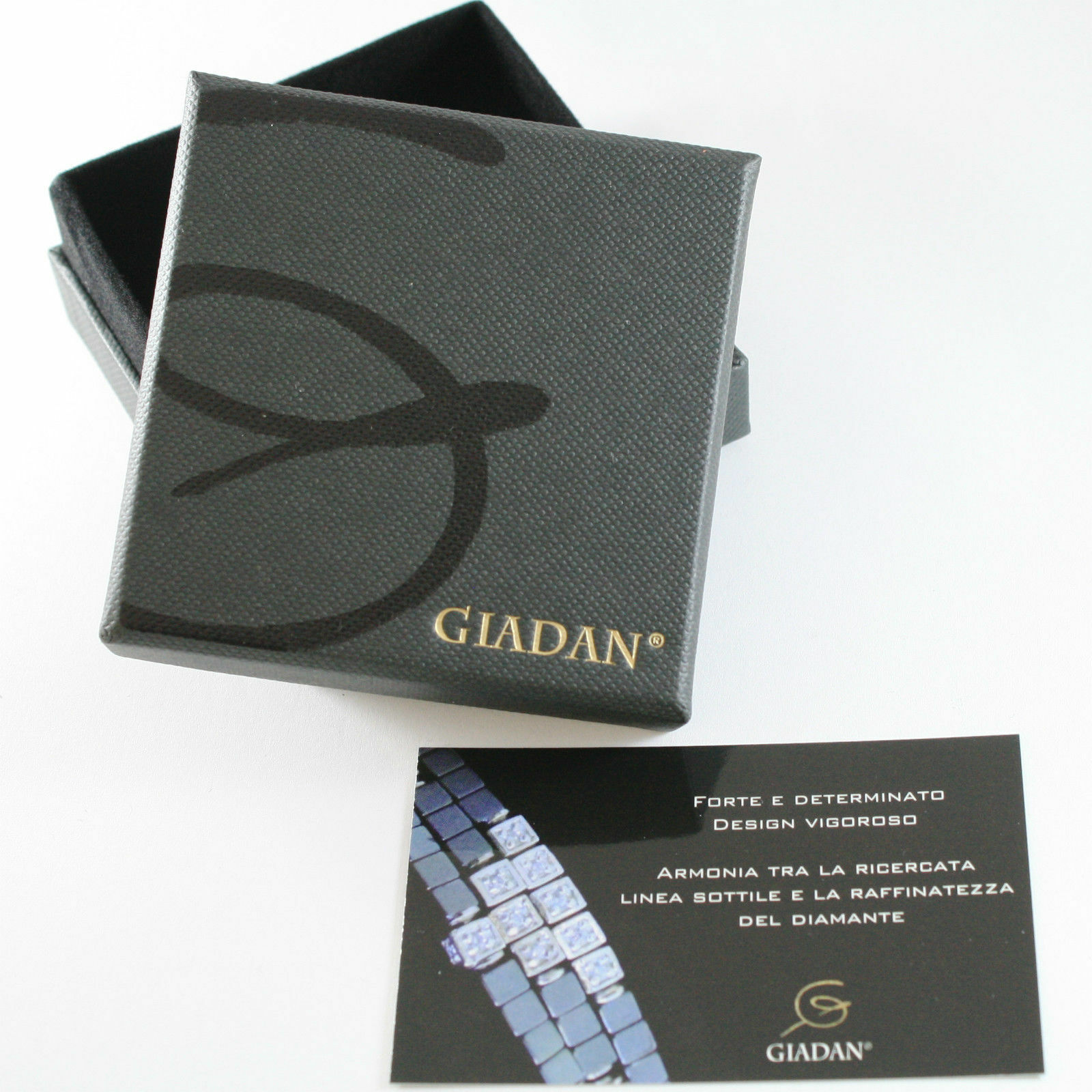 Bracelet Giadan 925 Silver with Hematite Polished Diamond & Black Made in Italy
