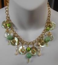 Vintage VCLM Shell Green Bead Rhinestone Dangling Charm Choker Chain Nec... - $31.68