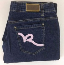 Rocawear Jeans Denim Pink Embroidered Stonewash Bootcut Blue MidRise Size 18 L32 - $14.80