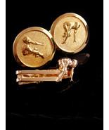 Vintage Marathon cufflinks / runner tie clip / Sports gift  / Athletic s... - $155.00