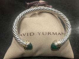 David Yurman Sterling Silver & 18k Gold GREEN ONYX 7mm Cable Classic Bra... - $449.99