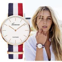 Classic Fashion Stripe Nylon Band Women Watch Top Luxury Brand Men Quart... - $14.10+