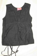 Juicy Couture Womens Black Deep V Casual Blouse  Sz Petite Small - $8.36
