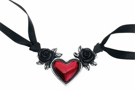 NWT Blood Red Heart Black Roses Romantic Ribbon Tie Necklace Alchemy Got... - $29.20